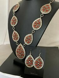 Navajo Coral Sterling Silver Squash Blossom Necklace Naja Pendant Earrings 268