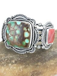 Native American Navajo Sterling Silver Spiny Royston Turquoise Bracelet 1129