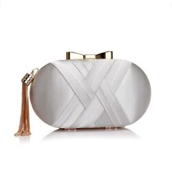 Evening Bow Bag Gold Color Metal Women Silver Clutches Tassel Luxurious Small $35.00
