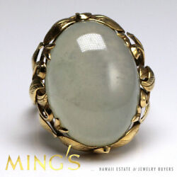 Ming's Hawaii 22mm Ice Jade Cabochon Scroll 14k Yellow Gold Ring Size 8