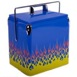 American Retro Classic Metal Blue Picnic Beverage Cooler With Flames Vintage New