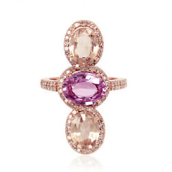 Studded Diamond And Oval Cut Sapphire Cocktail Long Ring 18k Rose Gold Jewelry