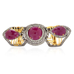 18.15ct Prong Set Ruby And Diamond Cocktail Knuckle Ring 18k Gold Silver Jewelry
