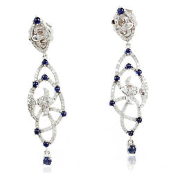 Solid 14k White Gold Dangle Earring 1.5ct Sapphire And Pave Diamond Jewelry