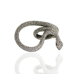 4.52ct Pave Diamond Gemstone 925 Sterling Silver Snake Style Ring Ring Jewelry