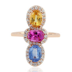 18k Rose Gold Prong Set Sapphire And Diamond Cocktail Ring Jewelry Memorial Day