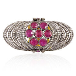 4.7ct Ruby And Diamond Cocktail Knuckle Ring 18k Gold 925 Silver Jewelry Gift