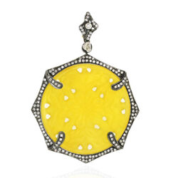 Carved Yellow Agate Diamond Pendant 18k Gold 925 Sterling Silver Jewelry