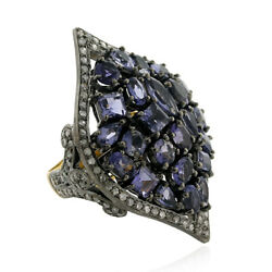 3.71ct Iolite And Diamond Cocktail Ring 18k Gold 925 Sterling Silver Jewelry