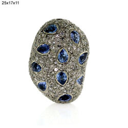 925 Sterling Silver 3.91ct Sapphire Bead Spacer Finding Pave Diamond Jewelry