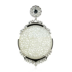 Carved Jade And Pave Diamond Pendant Sterling Silver Handmade Jewelry