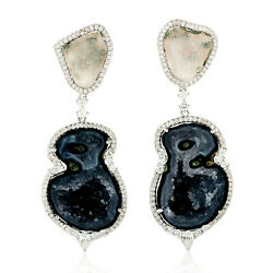 Natural Diamond Pave 18k White Gold Uneven Gemstone Dangle Earrings Gift Jewelry