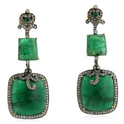 Natural Emerald And Diamond Dangle Earrings 18k Gold 925 Sterling Silver Jewelry