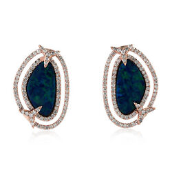 2.3ct Opal Stud Earrings 18kt Solid Rose Gold Pave Diamond Handmade Jewelry