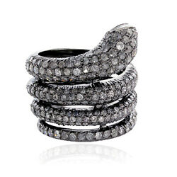 2.99ct Pave Diamond Ruby Wrap Snake Ring 925 Silver Jewelry Halloween Sale