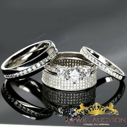 White Gold Finish Diamond Wedding Ring His And Her Matching Engagement Trio Set