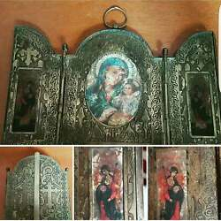 Antique Old Palestine Church Of Holy Jerusalem 1909 Icon Mary And Baby Jesus Hv