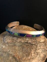 Navajo Sterling Silver Turquoise Sugilite Lapis Inlay Bracelet Mens Gift 1083