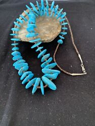 Native Navajo Pearl Sterling Silver Real Sb Turquoise Nugget Necklace 26in 511