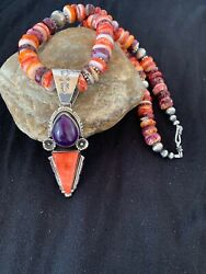 Native American Navajo Sterling Silver Purple Spiny Oyster Necklace Pendant 4557