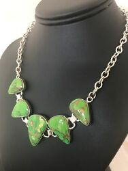 Native American 18 Green Mohave Turquoise Sterling Silver Necklace Usa 3692
