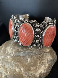 Mens Navajo Indian Native Red Spiny Oyster Sterling Silver Cuff Bracelet 1107