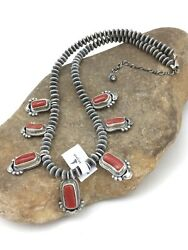 Gorgeous Native American Red Coral Sterling Silver Necklace 2527