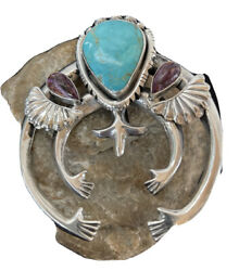 Navajo Blue Turquoise Spiny Oy Pearls Sterling Silver Necklace Pendant Naja 1059