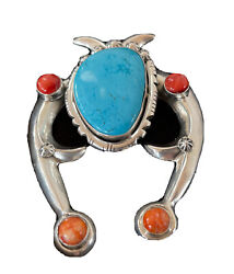 Navajo Blue Turquoise Spiny Oy Pearls Sterling Silver Necklace Pendant Naja 1061