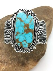 Mens Native American Navajo Sterling Silver Turquoise 8 Cuff Bracelet Hj 1025