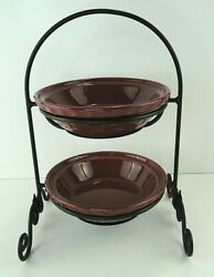 Longaberger Wrought Iron Small Pie Stand With 2 Pie Plates Paprika Free Shipping