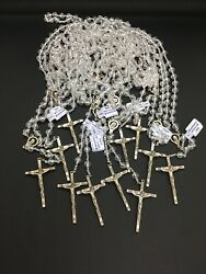 11 Vintage Funeral Home Made In Italy Clear Crystal Style Rosaries Never Used