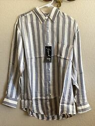 Goouch Mens Long Sleeve Button Down Shirt 100 Silk New Size Small Tan And Grey