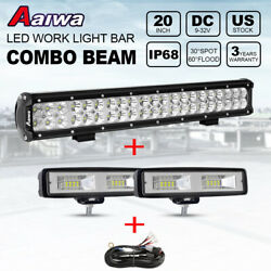 20inch 240w Led Light Bar Combo Offroad Driving + 2x 6 Flood Lights Pods + Wire