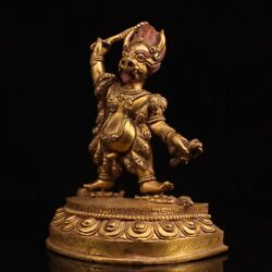 7.9 Collect Chinese Bronze Inlay Gem Gilding King Kong Hand Guard Statues