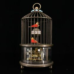 6.7collect Chinese Bronze Inlay Gem Birdcage Wire Drawing Old Mechanical Clock