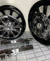 Indian Chief Classic Gloss Black Wheels Pulley Rotors Forks 2015 -19 Exchange