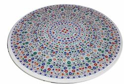 36 Marble Dining Table Top Inlay Rare Stones Antique Round Coffee Table Ar010