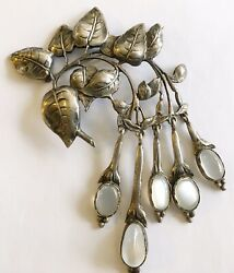 Antique Art Nouveau Sterling Lg Cini Drippy Pin With Moonstones