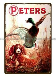 dorm room wall art Peters hunting Dog Duck metal tin sign