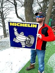 Vintage Michelin Tire Metal Gas Oil Service Station Rack Sign W/ Man Graphic