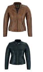 Womens Ladies Leather Jackets Classic Biker Fashion Style Real Leather