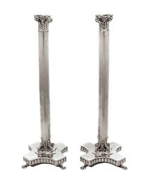 Italian 925 Sterling Silver Handcrafted Column Leaf Accent Candlesticks