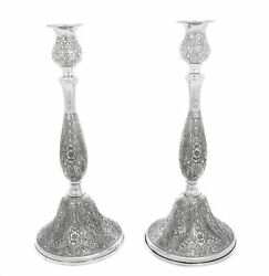 Italian 925 Sterling Silver Chased Garland And Floral Design Round Candlesticks