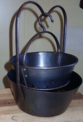 """Antique 18th Century Cast Iron And Tin Deep Fat Fryer Double Boiler 10"""" Small Size"""