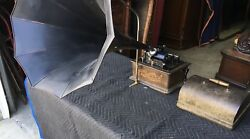 Edison Cylinder Phonograph With Black Panel Horn