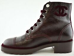 19b Burgundy Red Pearl Logo Cc Combat Lace Up Tie Ankle Short Boots 42