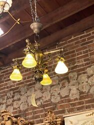 Vintage Art Deco Chandelier With Art Glass Shades