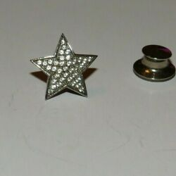 Lusso Sterling Silver Cz Star Tie Tack Pin Back 1.3 Grams