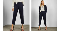 Ted Baker Size 1 Us 4 Dress Pants Hapiet Tailored Trousers Navy Blue Career Crop